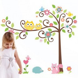 Tree and owl on a tree wall decal