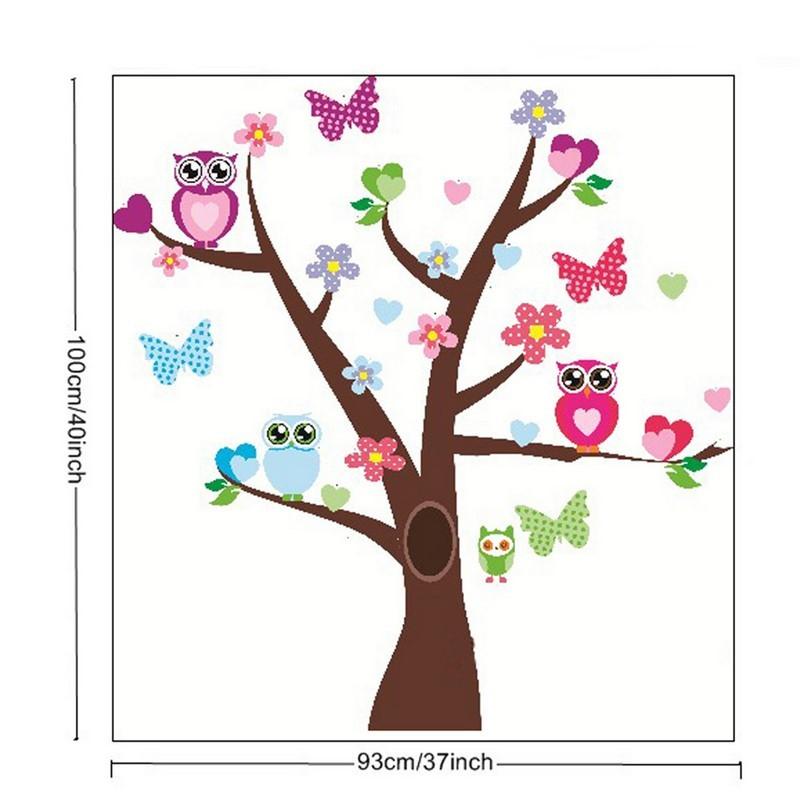 Sticker hiboux et papillons sur un arbre pas cher - Stickers muraux arbre ...