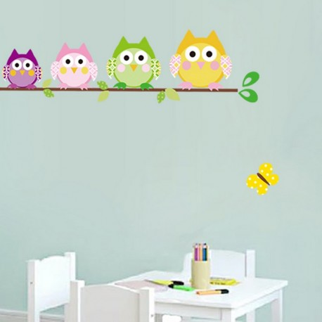 Owls family on a tree wall decal
