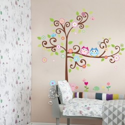 Owls on flowering tree wall decal