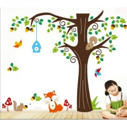 Nut tree and fox wall decal