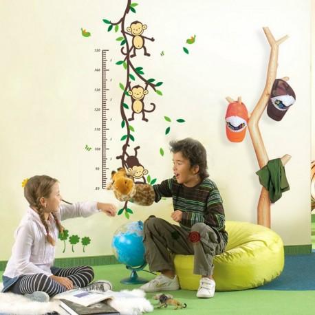 Tree, monkeys and birds kidmeter wall decal