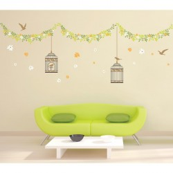 Elegant cages, birds and flowers wall decal