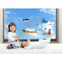 Whale and sea animals wall decals