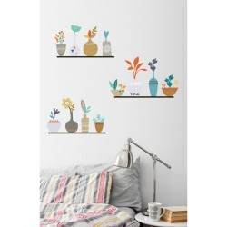 Flowers in pot on shelves wall decals