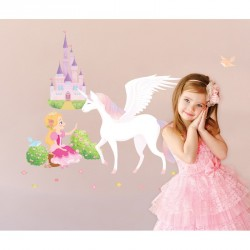Princess, Unicorn and Castle wall decal