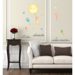 Stickers Phosphorescents Ville Chat Ballons et etoiles