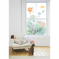 Montgolfier and clouds wall decal
