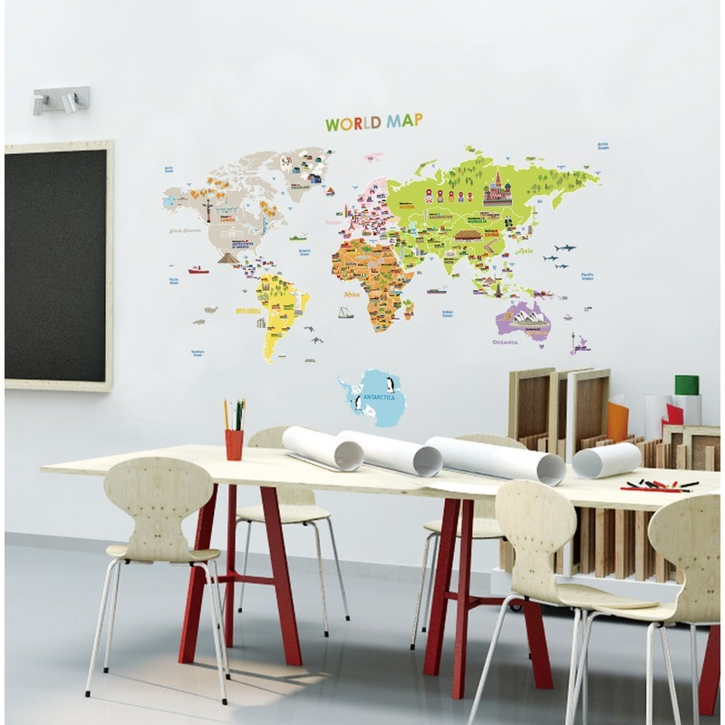 sticker carte du monde geante pour enfants pas cher stickers enfants discount stickers. Black Bedroom Furniture Sets. Home Design Ideas