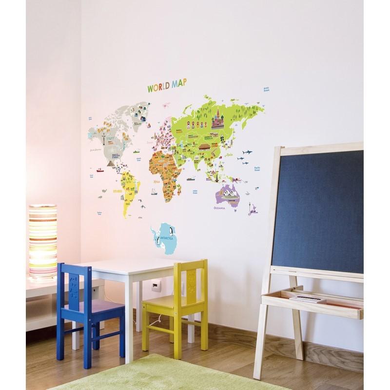 sticker carte du monde geante pour enfants pas cher stickers enfants discount stickers. Black Bedroom Furniture Sets. Home Design Ideas