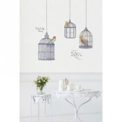 Birds in cage drawings wall decals