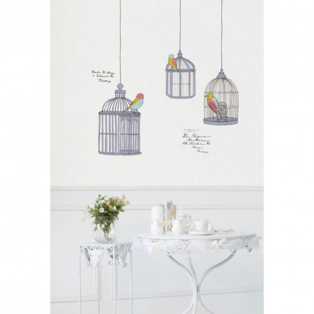 Birds in cage drawings wall decals cheap stickers for Deco cage a oiseaux