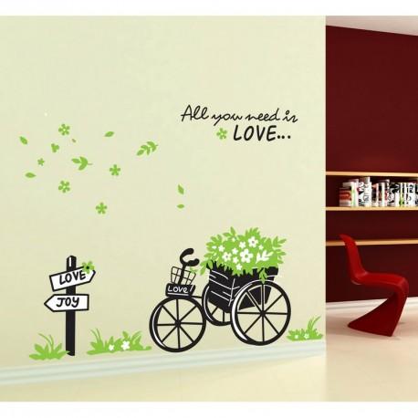 Wall decal Love and Bike