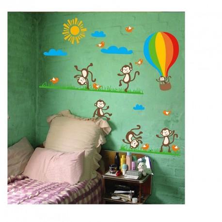 Monkeys, birds and Hot-air balloon wall decal