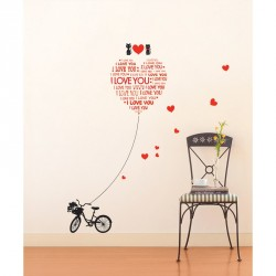 Stickers Love You avec chats et velo