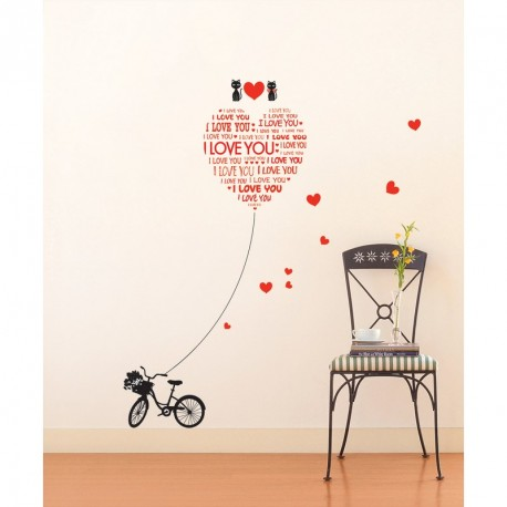 Love You with cats and bike wall decal