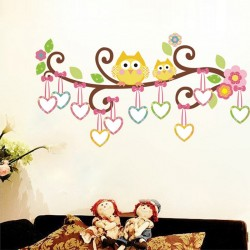 Owls and hearts on a tree wall decal