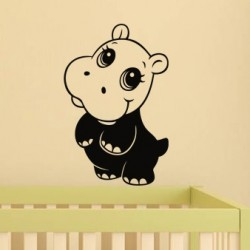 Cute hippo wall decal