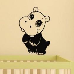 Cute hippo wall decal