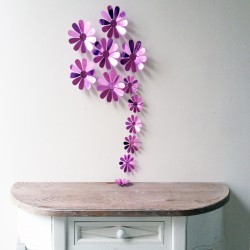Pack of 12x 3D Adhesive Flowers Chic mirroir purple