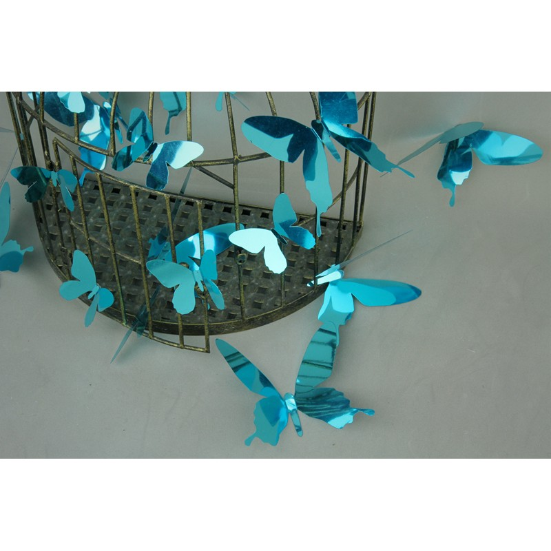 Pack of 12 stickers butterflies 3d effect mirror blue for Miroir stickers