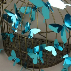 Pack of 12 stickers  butterflies - 3D effect - Mirror blue