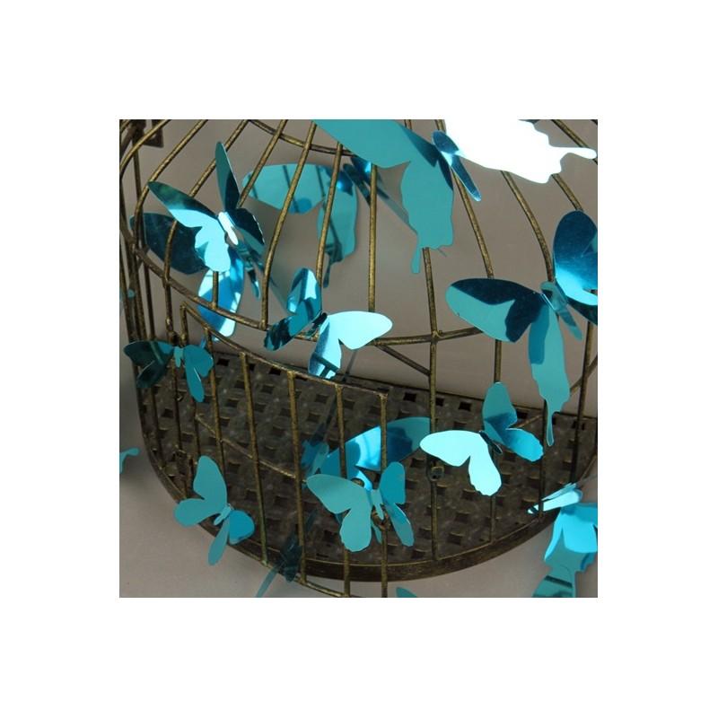Set de 12 stickers papillons 3d miroir bleu pas cher for Stickers muraux miroir pas cher