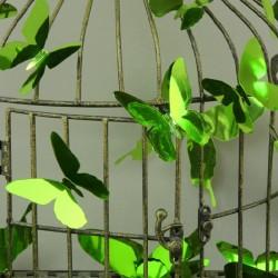 Set de 12  stickers papillons 3D - Miroir vert