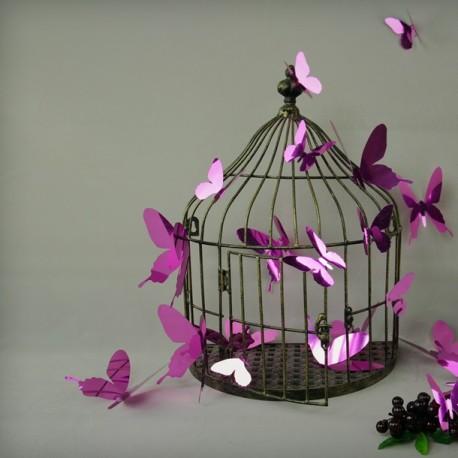 Pack of 12 stickers  butterflies - 3D effect - Mirror purple
