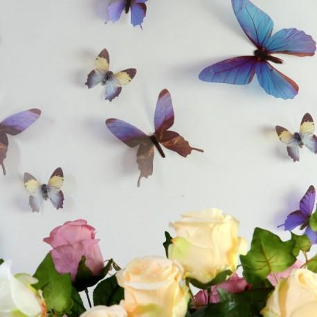 Kit de 12 Stickers papillons 3D - Miroir violet