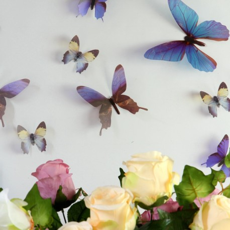 Pack of 18 Adhesive Butterflies - 3D effect - Chic translucid
