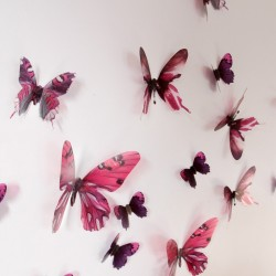 Pack de 18 papillons 3D adhésifs chics translucides rose