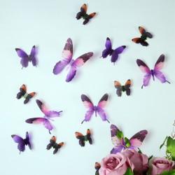 Pack de 18 papillons 3D adhésifs chics translucides violet
