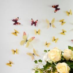 Pack de 18 papillons 3D adhésifs chics translucides jaune
