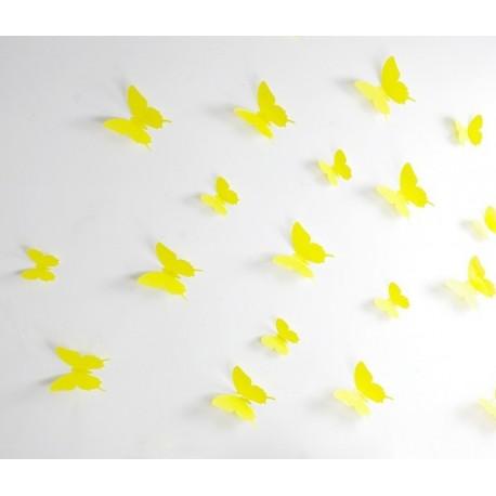 Pack of 12x 3D butterflies wall decals yellow