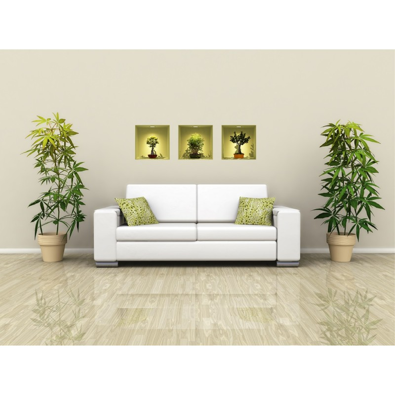 Colored Bonsais D Effect Wall Decals Cheap Home Discount Wall - 3d effect wall decals
