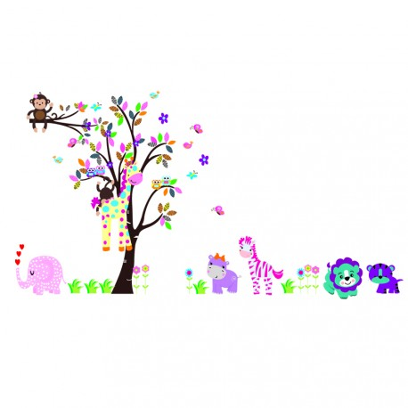 Wall decal Cute animals in the garden