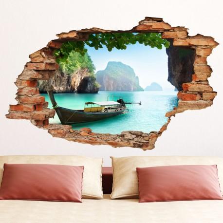 """sticker trompe l'œil """"les îles secrètes"""" pas cher - accueil discount"""