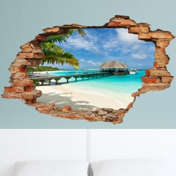 "Wall decal Landscape ""Beach, palms and bungalow\"""