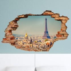 Sticker trompe l'œil Vue sur Paris