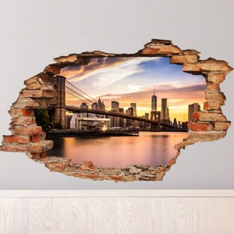 sticker trompe l'œil brooklyn bridge pas cher - stickers monde
