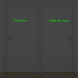 Lot de 2 stickers portes - Salle de bain et Toilettes  - Phosphorescent