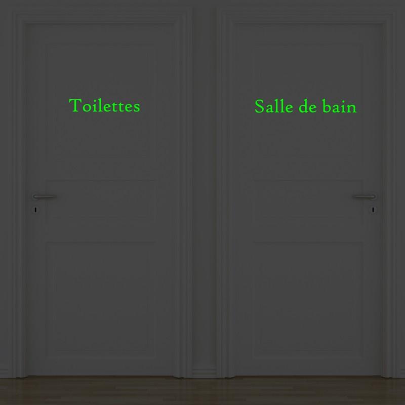 Lot de 2 stickers portes salle de bain et toilettes for Stickers salle de bain pas cher