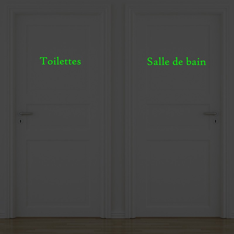 Pack of 2 doors wall decals salle de bain and for Sticker miroir salle de bain