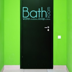 Sticker text for Bathroom foor:  bathoom, water, bubbles, soap, clean - sky blue