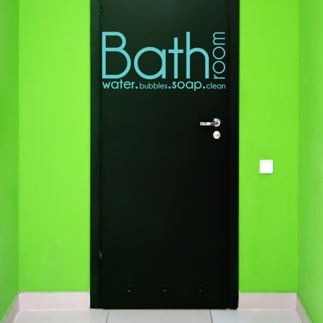 Sticker texte pour porte de salle de bain: Bathroom, water, bubbles, soap, clean - Bleu ciel