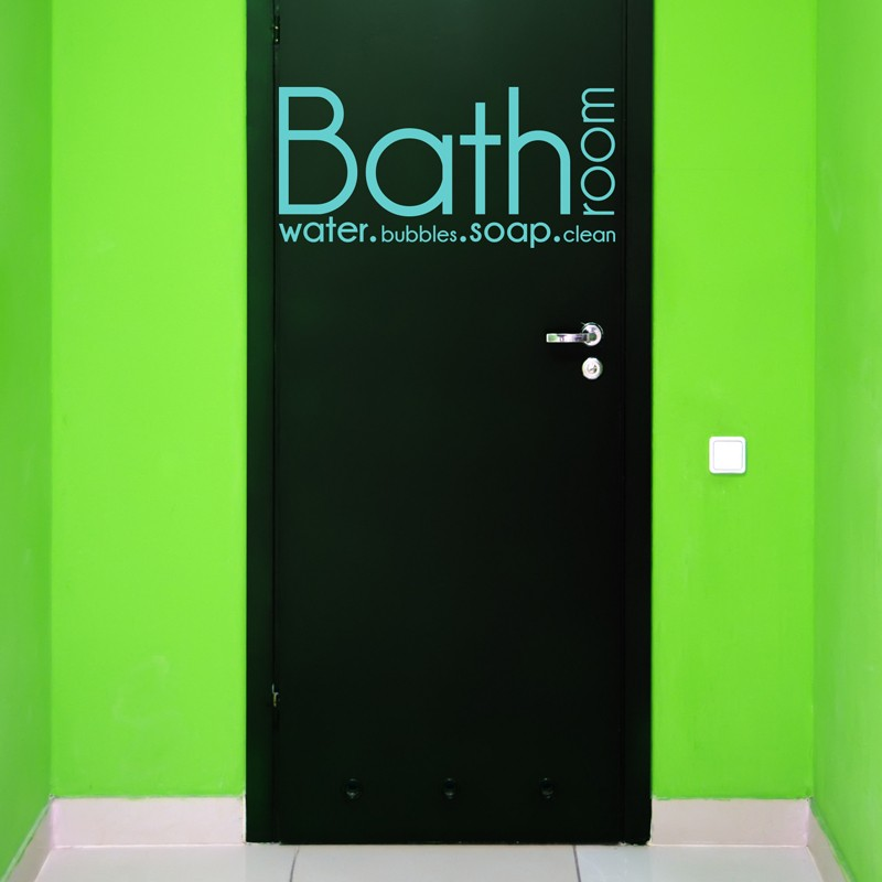 sticker texte pour porte de salle de bain bathroom water bubbles soap clean bleu ciel pas. Black Bedroom Furniture Sets. Home Design Ideas