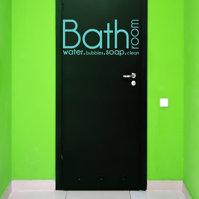 Sticker texte pour porte de salle de bain: Bathroom, water ...
