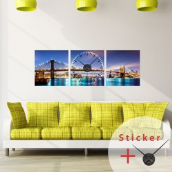 Clock Wall Decal Brooklyn  Bridge