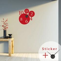 Sticker horloge bulles et chiffres